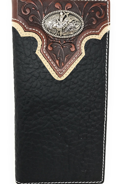 Western Tooled Genuine Leather Rodeo Men's Long Bifold Wallet in 2 colors