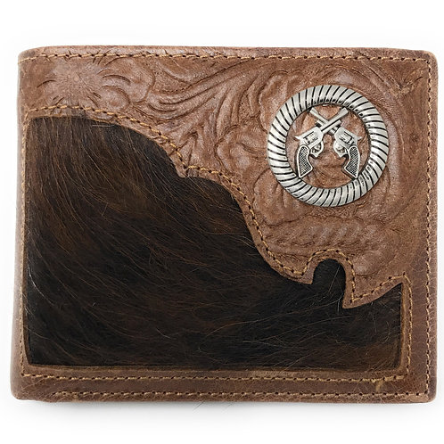Western Genuine Tooled Leather Cowhide Cow Fur Pistol Mens Bifold Short Wallet