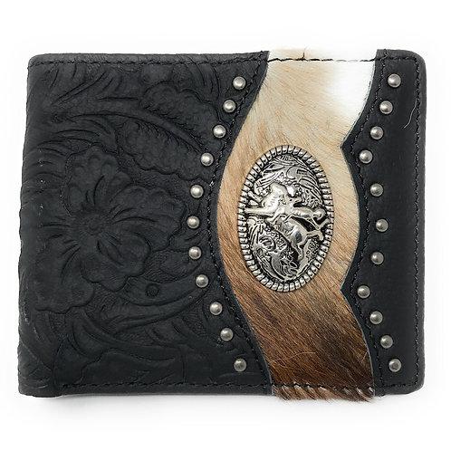 Western Genuine Tooled Leather Cowhide Cow Fur Rodeo Mens Bifold Short Wallet