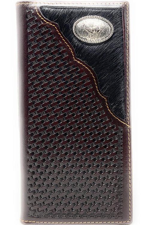 Basketweave Genuine Leather Rooster Long Cowhide Stud Bifold Wallet