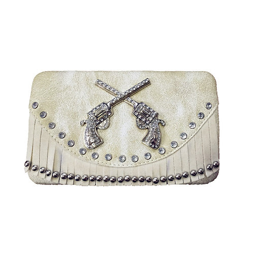 Rhinestone 3D Pistol Fringe Womens Western Clip Wallet in 3 Colors / Extra Check