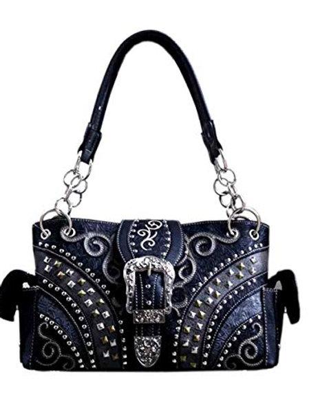 Western Rhinestone Rivet Floral Buckle Concealed Carry Handbag