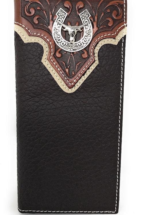 Western Tooled Genuine Leather Longhorn Spur Men's Long Bifold Wallet in 2 color