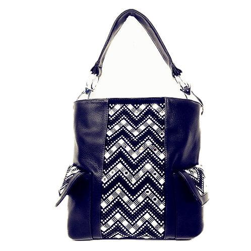 Premium Rhinestone Studded Shoulder Bag with Zipper Closure in 3 Colors