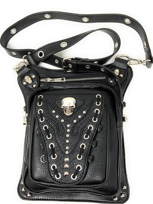 Texas West Women's Embroidered Metal Skull Purse Handbag