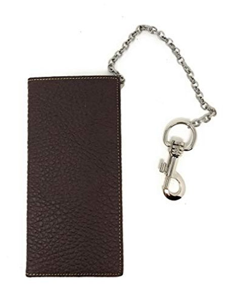 Genuine Leather Men's RFID Blocking Long Bifold Wallet in 2 colors, Extra Chain