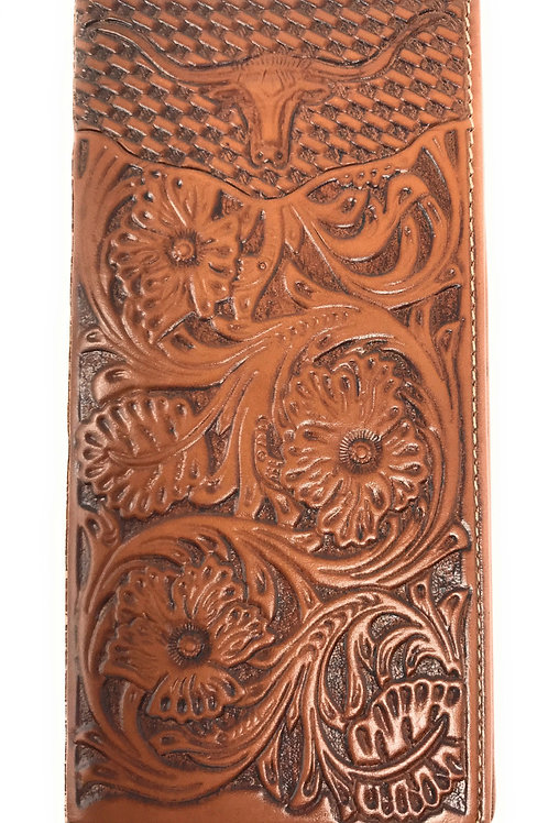 Premium Western Genuine Leather Floral Embroidered Longhorn Mens Bifold Wallet