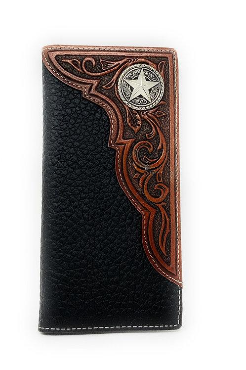 Western Premium Genuine Leather Tooled Men's Long Bifold Wallet