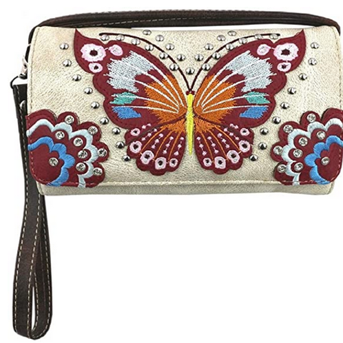 Texas West Western Rhinestone Embroidery Butterfly Floral Crossbody Small Pouch