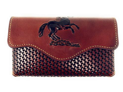 Western Cowboy Horizontal Basketweave Leather Horse Cellphone Belt Holster Case