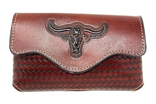 Western Cowboy Horizontal Basketweave Leather Multi Emblem Cellphone case