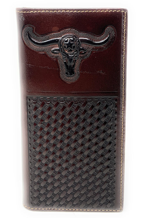 Premium Genuine Western Mens Embossed Longhorn Basketweave Long Wallet in 3 Colo