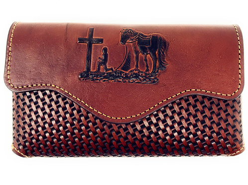 Western Cowboy Horizontal Basketweave Leather Praying Cowboy Cellphone Belt Case