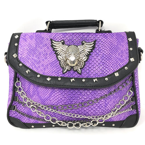 Premium Rhinestone Metal 3D Skull with Wings Women's HandBag Purse