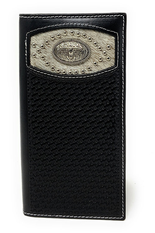 Men's Basketweave Genuine Leather Longhorn Long Cowhide Stud Bifold Wallet