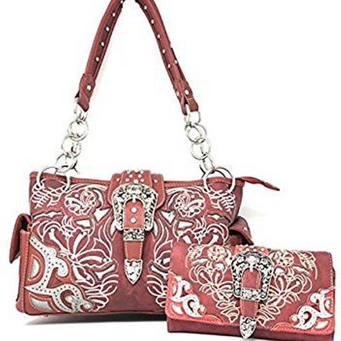 Concealed Carry Shoulder Handbag Western Purse/Wallet With Rhinestone Buckle