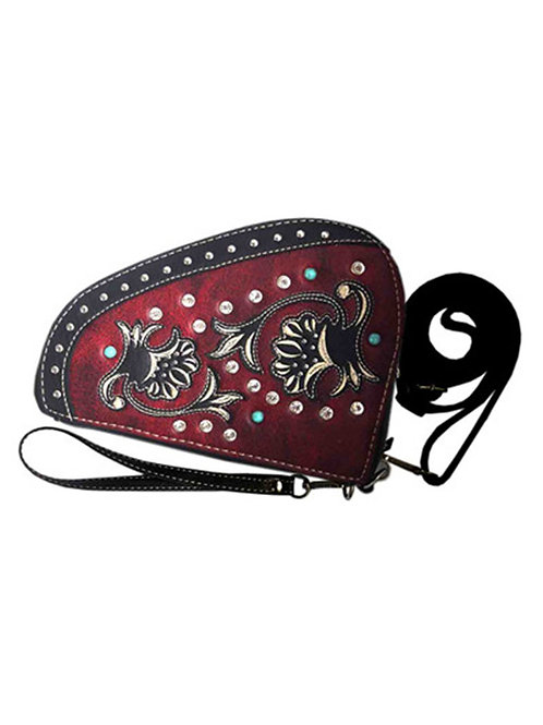 Western Tooled Leather Concho Floral Embroidered Rhinestone Crossbody Pistol Bag