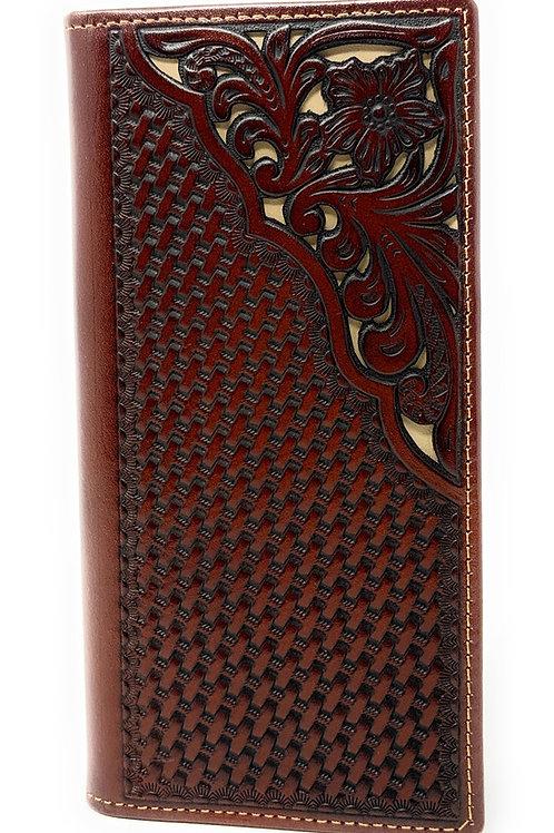 Western Genuine Leather Tooled Laser Cut Basketweave Men's Long Bifold Wallet