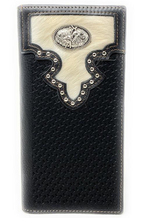 Western Men's Cow Fur Genuine Leather Basketweave Rodeo Bifold Wallet in 2 Color