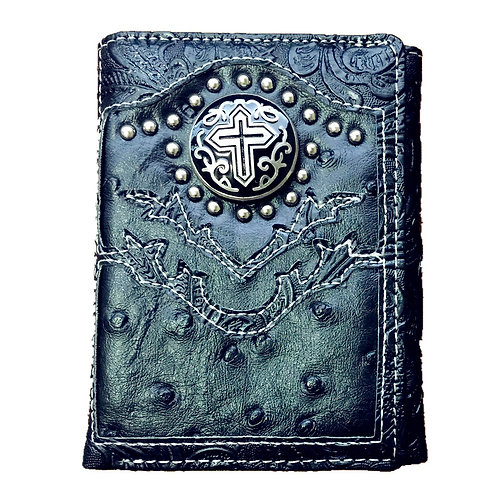Ostrich Concho Cross Emblem Trifold Short Wallet in 3 Colors