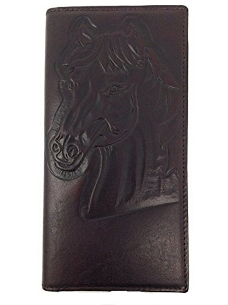 Texas West Genuine Tooled Leather Horse Rider Cowboy Bifold Long Western Wallet