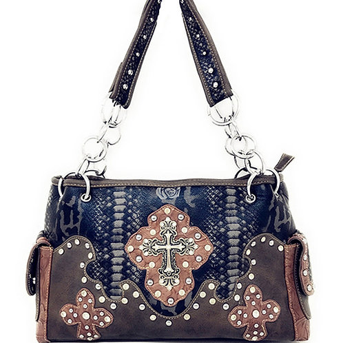 Premium Western Rhinestone Suede Leather Womens Handbag Purse With Cross