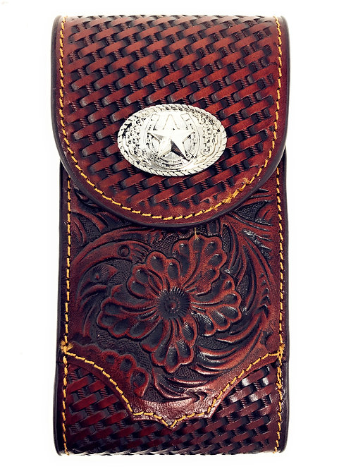 Cowboy Small Size Genuine Leather Lone Star Galaxy Iphone Holster Cellphone Case