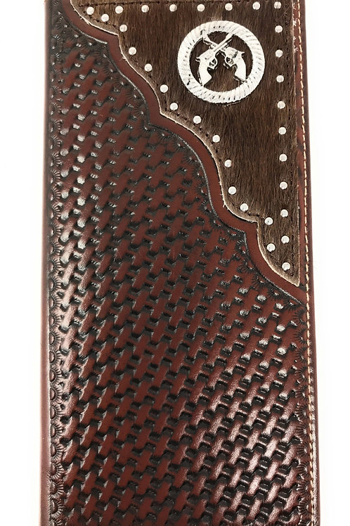 Premium Western Genuine Woven Leather Cow Fur Double Pistols Mens Bifold Wallet