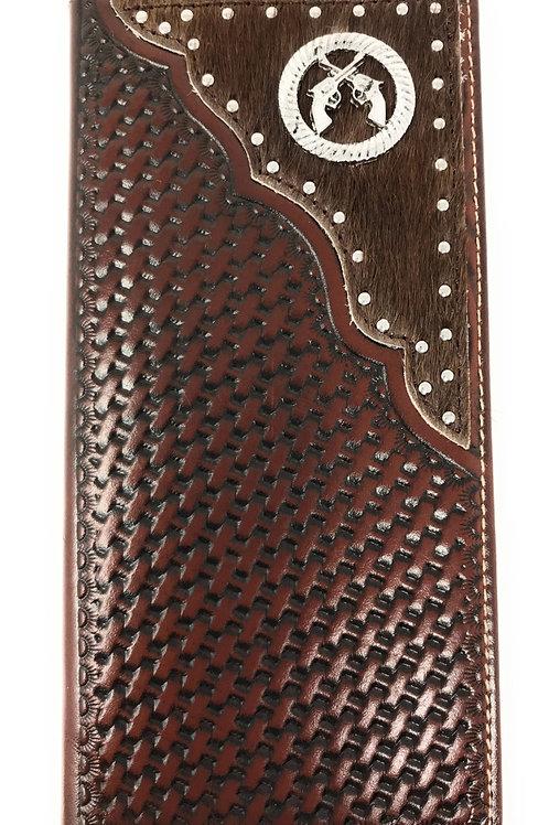 Premium Western Genuine Woven Leather Cow Fur Double Pistols Mens Bifold Wallet