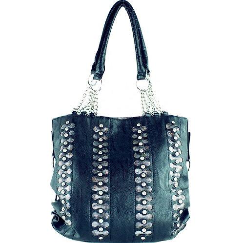 Premium Bling Bling Rhinestone Studded Fashion Tote Bag With Zipper Closure