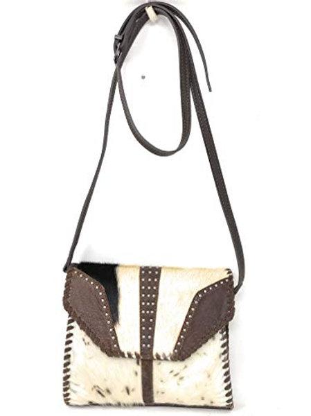 Western Genuine Leather Cowhide Fur Fringe Women's Medium Size Crossbody Bag in