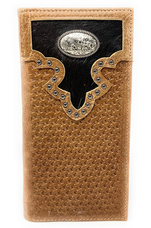 Western Men's Cow Fur Genuine Leather Basketweave Praying Cowboy Bifold Wallet