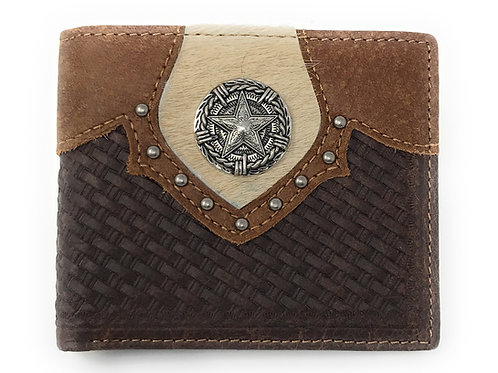 Western Genuine Leather Cowhide Cow Fur Star Basketweave Mens Bifold Short Walle