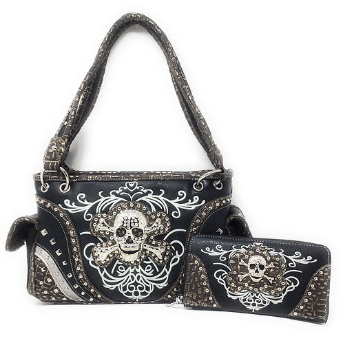 GoCowgirl Women's Skull Bones Skeleton Purse Handbag with Matching Wallet