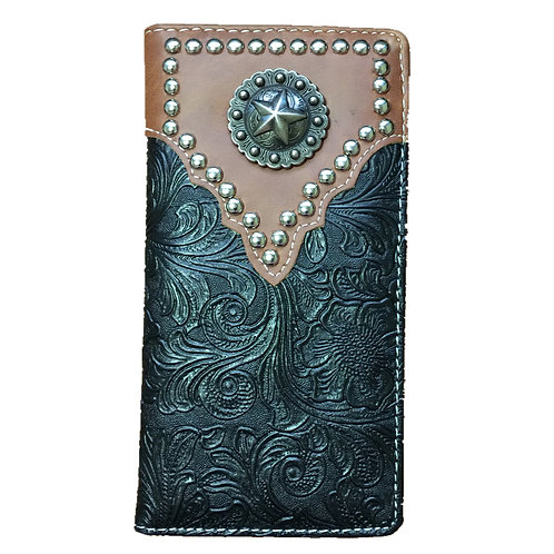 Lone Star Men's Concho Tooled Leather Bifold Wallet, Extra Checkbook. Black