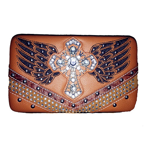 Rhinestone Angel Wings Cross Clip Womens Wallet In Mult Color / Extra Checkbook