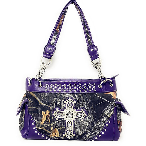 Nylon Womens Handbags Camouflage Studded Rhinestone Cross Handbag Purse