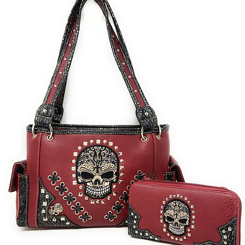 Texas West Women's Embroidered Flora Sugar Skull Purse Handbag and Clutch Wallet