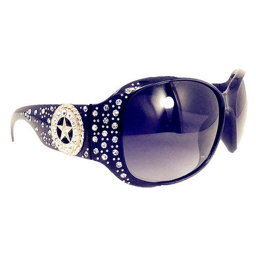 Star Round Concho Rhinestone Western Bling Sunglasses UV 400 Lens