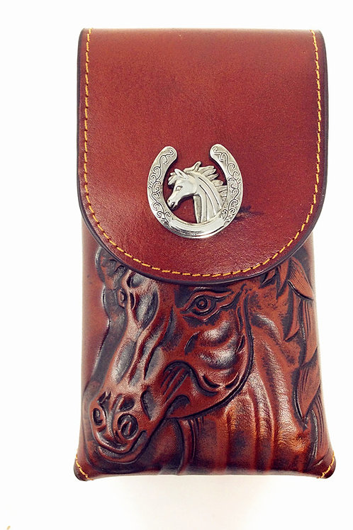 Cowboy Medium Size Genuine Leather Horse Head Galaxy Iphone Holster Phone Case