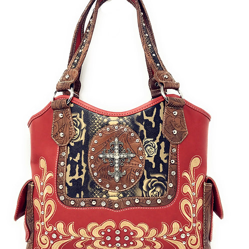 Rhinestone Studded Cross Flower Embroidery Concealed Carry Shoulder Handbag Purs