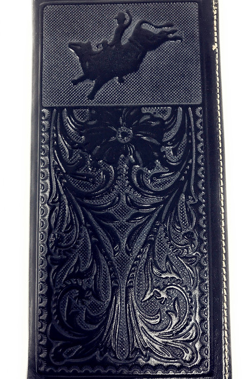 Premium Western Genuine Woven Leather Floral Embroider Rodeo Mens Bifold Wallet