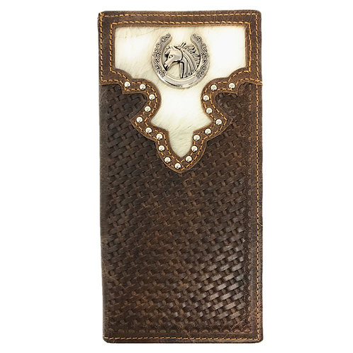 Cow Fur Tooled Genuine Leather Basketweave Metal Horse Mens Bifold Wallet