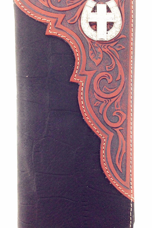 Premium Genuine Leather Cross Mens Long Wallet Checkbook in 2 Colors