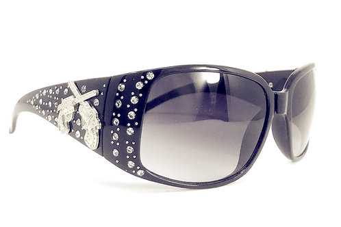 Womens Rhinestone UV 400 Crossed Pistols Concho Sunglasses