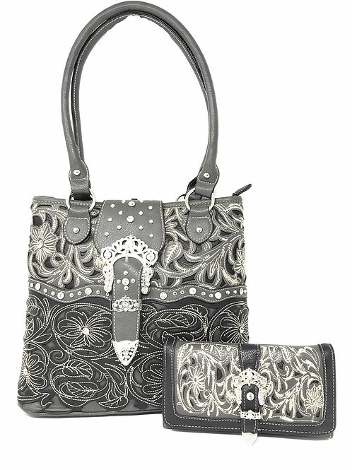 Western Rhinestone Buckle Concealed Carry Floral Womens Tote Handbag/Wallet Set
