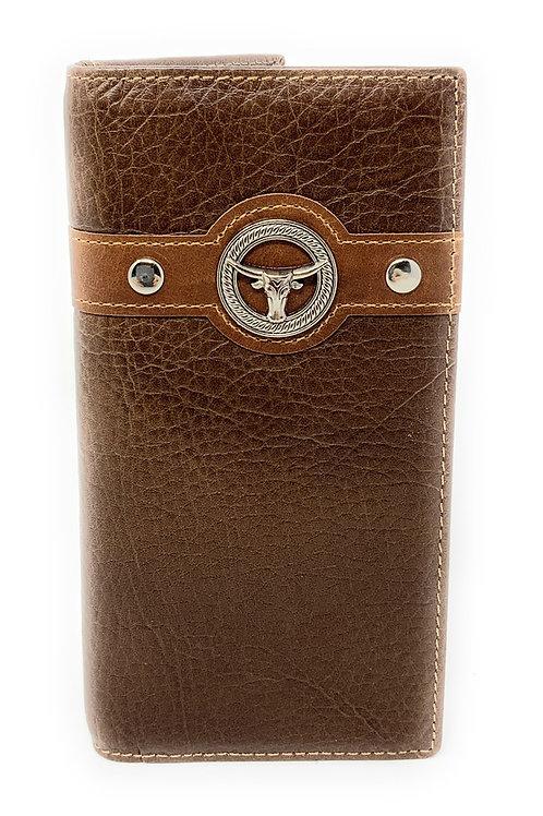 Texas Western Men's Genuine Leather Longhorn Bifold Long Wallet in 3 Colors
