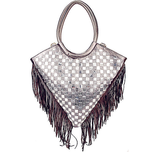 Rhinestone Triangle Shape Fringe Embellished Double Handle Zipper Handbag
