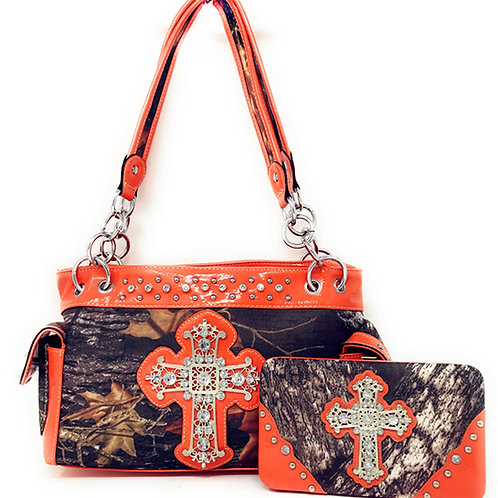 HOT SALE Western Rhinestone Camouflage Handbag With Matching Wallet Collections