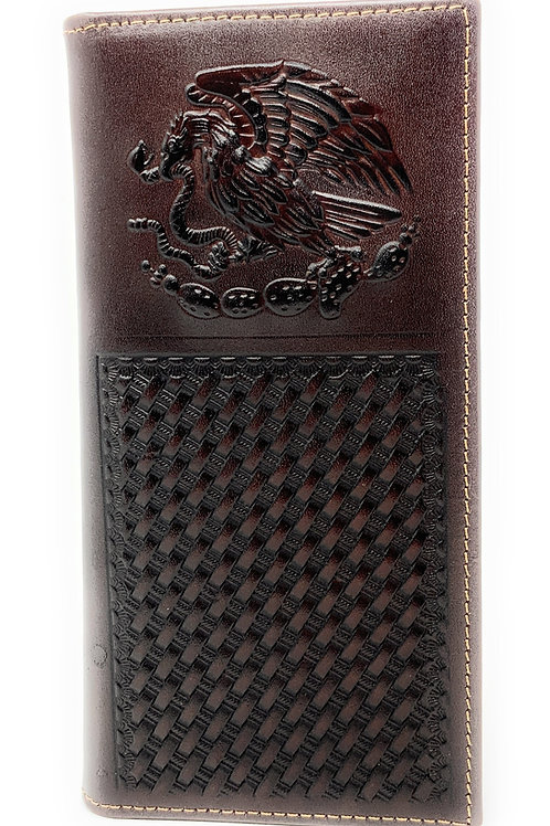 Premium Genuine Western Mens Embossed Eagle Basketweave Long Wallet in 3 Colors
